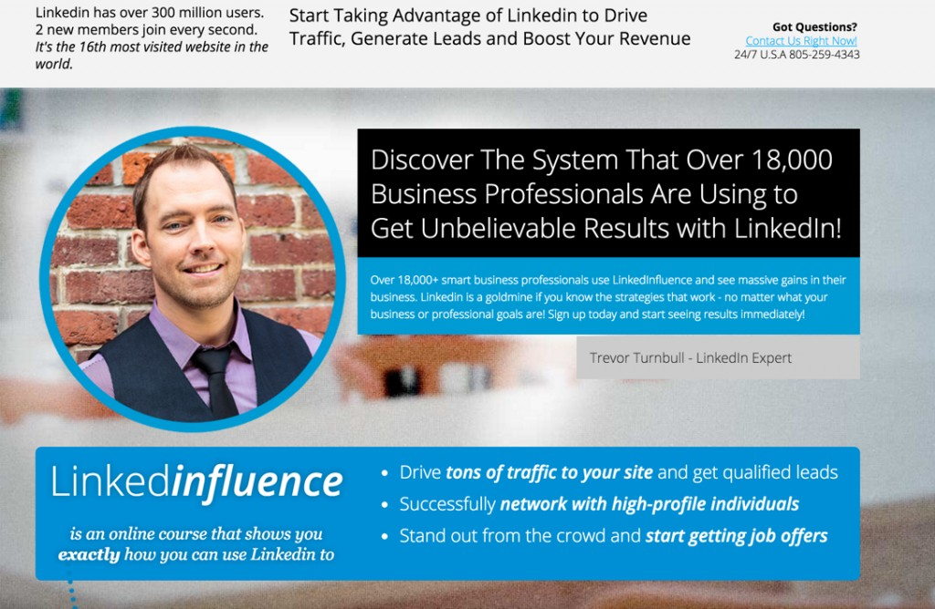 Linkedinfluence landing page