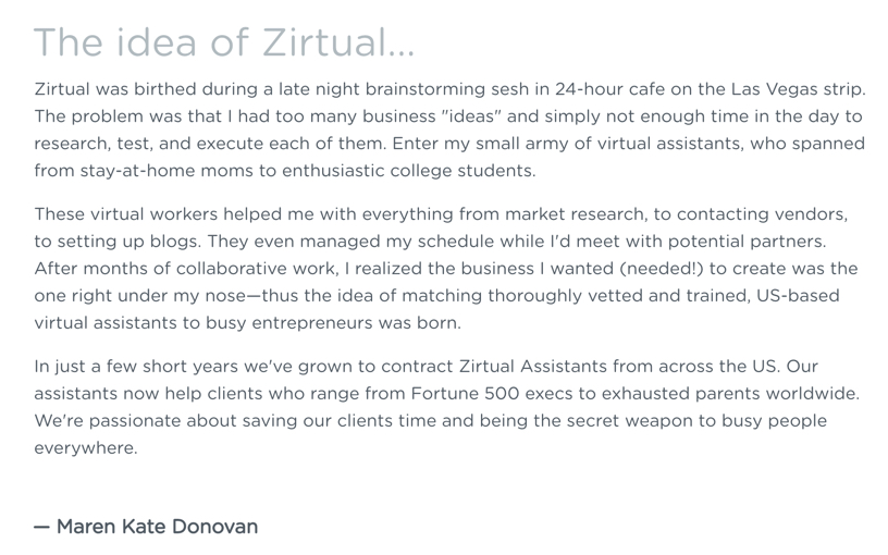 Copywriting inspiration - Zirtual